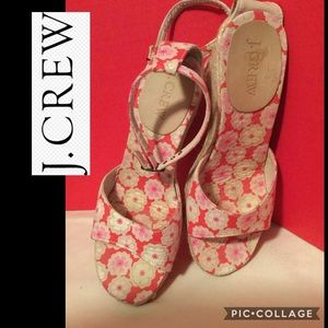 J.Crew wedge size 6 floral fabric and macrame heel